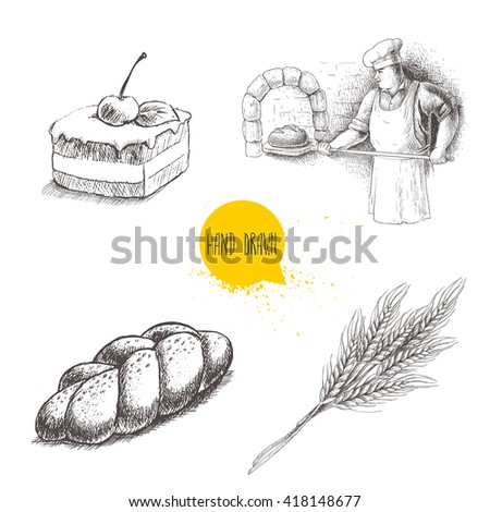 Hand drawn set bakery illustrations. Baker making fresh bread in stone oven, cream chocolate cake with cherry, fresh sesame bun and wheat bunch. Vector isolated on white background. - stock vector