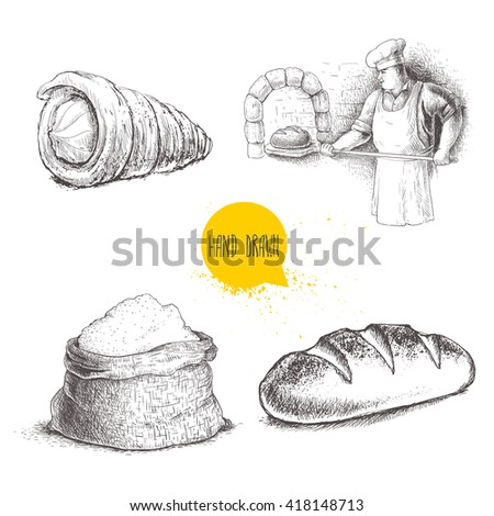 Hand drawn set bakery illustrations. Baker making fresh bread in stone oven, cream roll, fresh baguette and flour sack isolated on white background. - stock vector