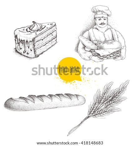 Hand drawn set bakery illustrations. Baker with basket of fresh bread, fresh baguette, cream cake and wheat bunch. Vector drawings isolated on white background. - stock vector