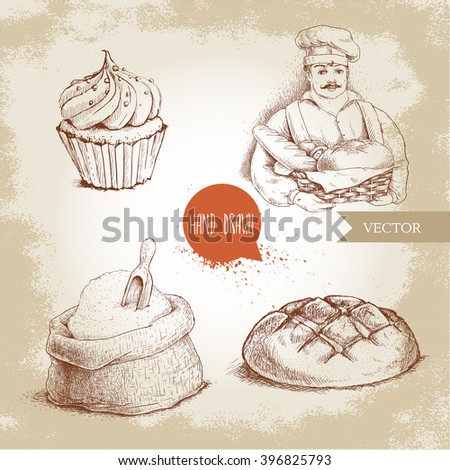 Hand drawn set bakery illustrations. Baker with basket of fresh bread, loaf, cupcake  and sack with flour and wooden scoop. - stock vector