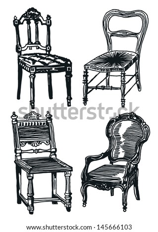 Hand drawn set - chair - stock vector