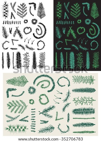 Hand drawn set green fir fine branch vector isolated on black background. Christmas tree.   - stock vector