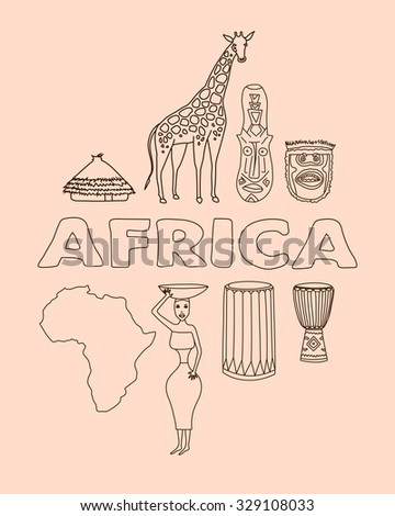 Hand drawn set of african symbols - bungalows, girl with a bowl, giraffe, ritual mask, map, acacia, music instruments. Travel to africa icons for cards and web pages. - stock vector