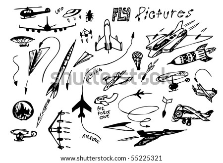 hand drawn set of airplanes icons - stock vector