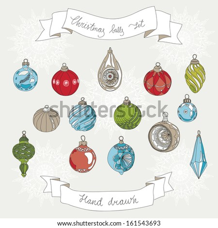 Hand drawn set of Christmas balls. Vintage vector illustration. - stock vector