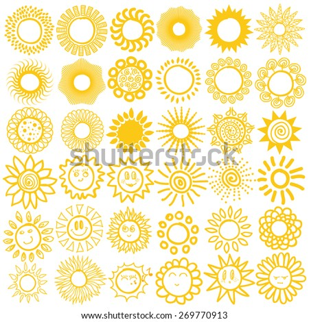Hand drawn set of different suns isolated. Vector illustration. White backdrop. Elements for design. 36 items collection. - stock vector