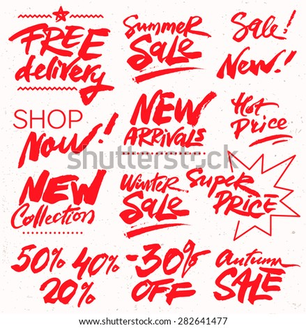 Hand Drawn Set of Discount Design Elements - stock vector