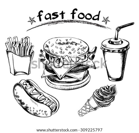 Hand drawn set of fast food - hot dog, french fries, hamburger, drink in a cardboard cup with a straw, cone with ice cream. Vector Illustration. - stock vector