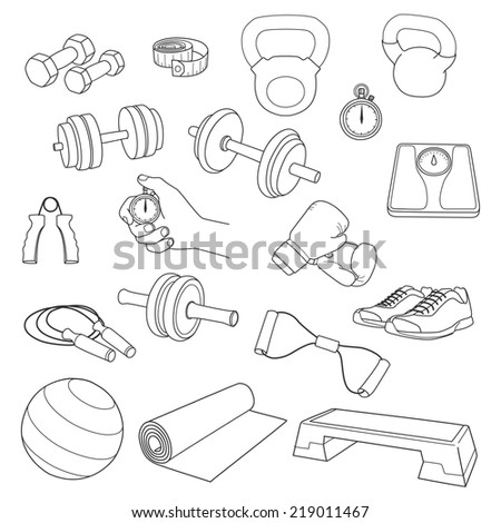 Hand drawn set of fitness accessories. Dumbbells, exercise ball, jump rope, stopwatch, the stopwatch hand, expander, yoga-mat, step platform, sneakers, boxing gloves, scales, tape measure. Vector. - stock vector