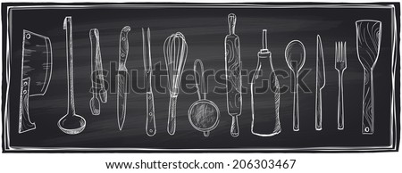 Hand drawn set of kitchen utensils on a chalkboard background. Eps10  - stock vector