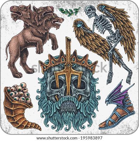 Hand-drawn set of old school greece mythology theme tattoos. - stock vector