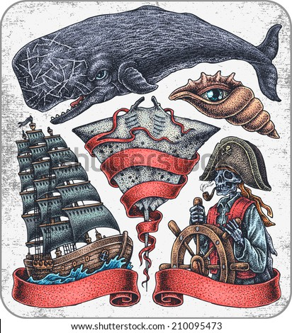 Hand-drawn set of old school oceanic theme tattoos. - stock vector