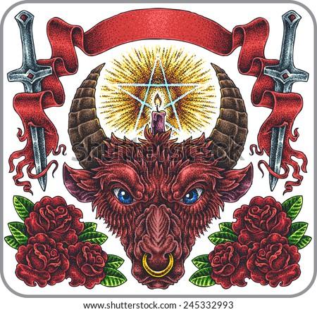 Hand-drawn set of old school revenge theme tattoos. - stock vector