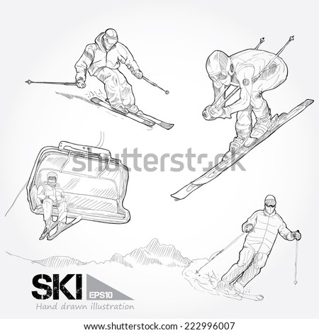 Hand Drawn  set of Ski. vector illustration - stock vector