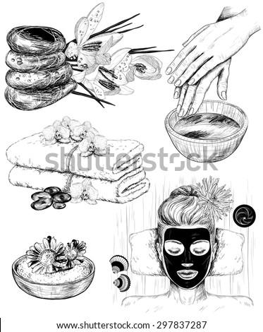 hand drawn set of spa Beauty illustrations - stock vector