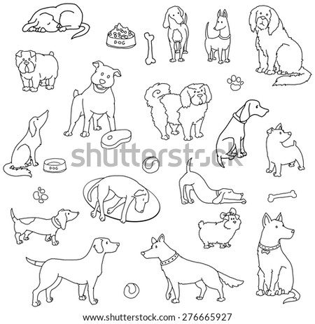 Hand drawn set of various dogs, vector illustration - stock vector