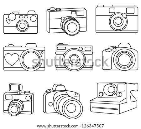 Hand Drawn Set of Vector Cameras - stock vector