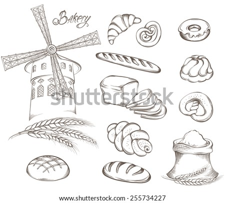 Hand drawn Set of vintage bakery icons: flour, mill, bread and other pastries. Retro style food design. Vector illustration. - stock vector
