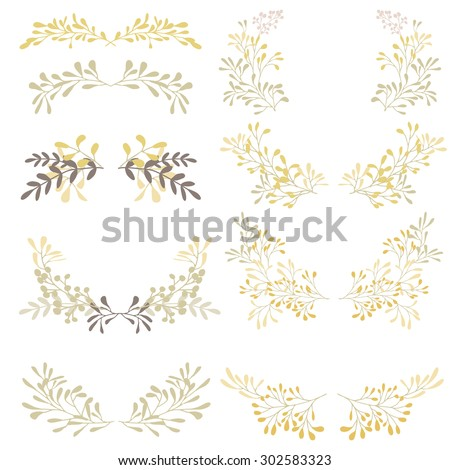 Hand drawn set of wreaths with herbs and branches, nature objects, clip art. - stock vector