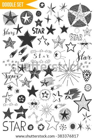 Hand drawn set - Stars - stock vector
