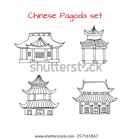Hand Drawn Set With Detached Asian Traditional Chinese