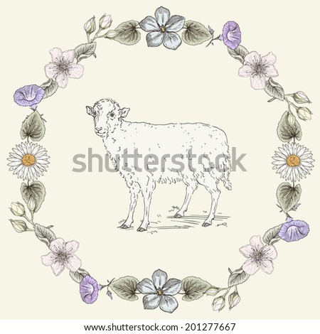 Hand drawn sheep and floral frame. Ornate colorful illustration. Vintage engraving style - stock vector