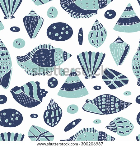 Hand drawn shell seamless background - stock vector