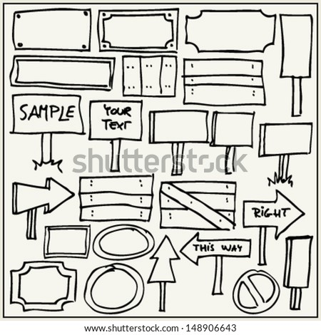 Hand drawn signs and pointers - stock vector