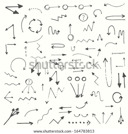 Hand drawn simple arrows set made in vector - stock vector