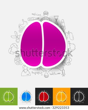 hand drawn simple elements with brain paper sticker shadow - stock vector