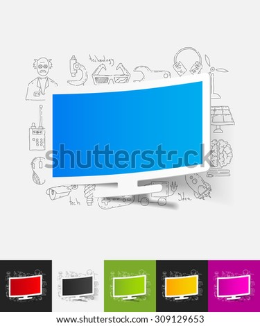 hand drawn simple elements with monitor paper sticker shadow - stock vector