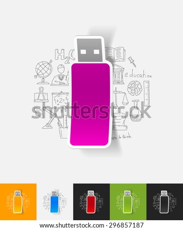 hand drawn simple elements with usb paper sticker shadow - stock vector