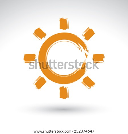 Hand drawn simple vector sun icon, brush drawing meteorology sign, original hand-painted weather forecast symbol isolated on white background. - stock vector