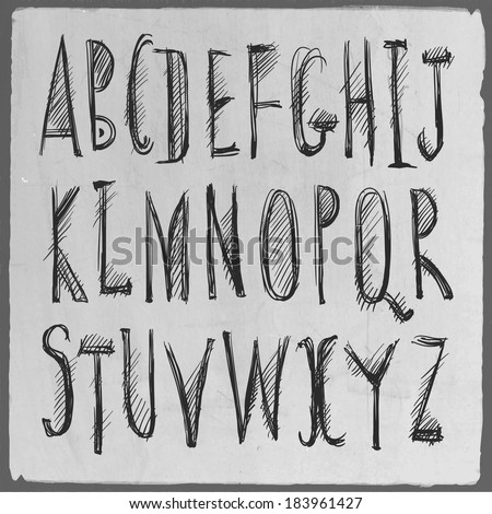 Hand drawn sketch alphabet. Handwritten font. Isolated in white background. Vector illustration. - stock vector