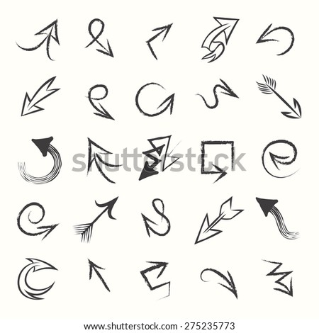 Hand drawn sketch arrows. Symbol pointer and direction, line element, vector illustration - stock vector
