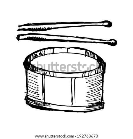 hand drawn, sketch, cartoon illustration of drum - stock vector