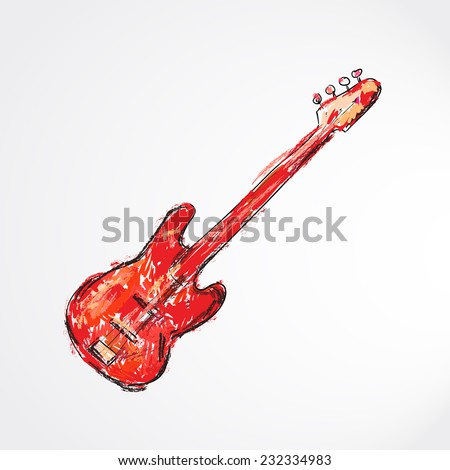 hand drawn, sketch, cartoon illustration of electric guitar  - stock vector