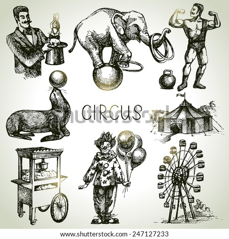 Hand drawn sketch circus and amusement vector illustrations. Vintage icons - stock vector