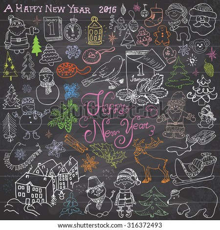 Hand drawn Sketch design of happy new year 2016 Doodles with Lettering set, with christmas trees snowflakes, snowman, elf, deer, santa claus and festive elements,  Vector Illustration on chalkboard - stock vector