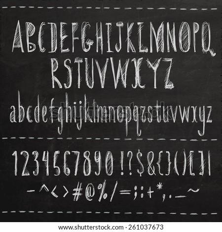 Hand drawn sketch font. Vector chalkboard illustration. - stock vector