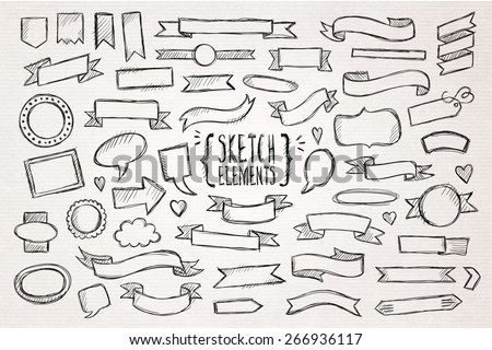 Hand drawn sketch hand drawn elements. Vector illustration. - stock vector