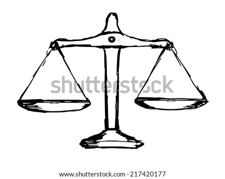 hand drawn, sketch illustration of justice scales - stock vector