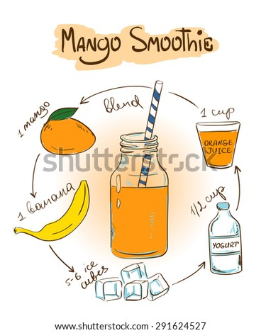 Hand drawn sketch illustration with Mango smoothie. Including recipe and ingredients for restaurant or cafe. Healthy lifestyle concept. - stock vector