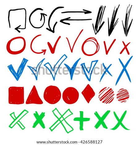 Hand drawn sketch marker, brushed signs, arrows, lines, shapes, handwritten, marker design elements set  isolated on white background - stock vector