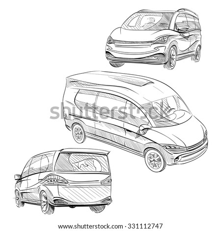 Hand drawn sketch minibus abstract vector design concept set - stock vector