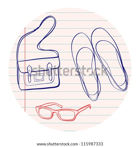 Hand drawn sketch. Notebook doodles with bag, eyeglasses and flat shoes. Vector Illustration. Design elements on lined notebook paper. - stock vector