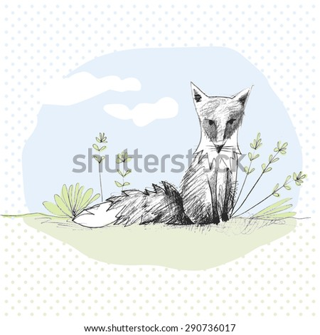 hand drawn sketch of a cute fox sitting in a garden - stock vector