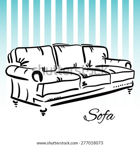 Hand drawn sketch of a leather couch with blue stripes on the background. Elegant furniture. - stock vector