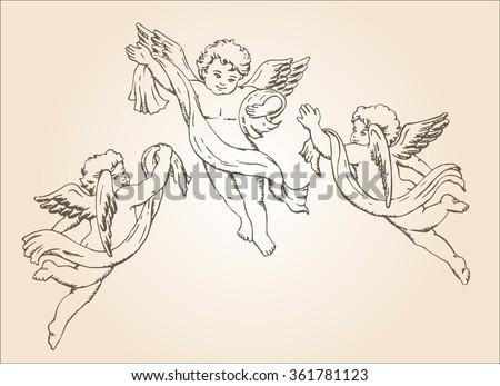 Hand drawn sketch of 3 cute little angels - stock vector