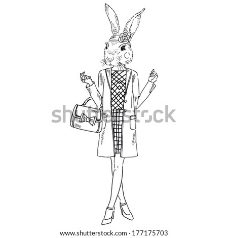 Hand drawn sketch of dressed up bunny girl isolated on white - stock vector